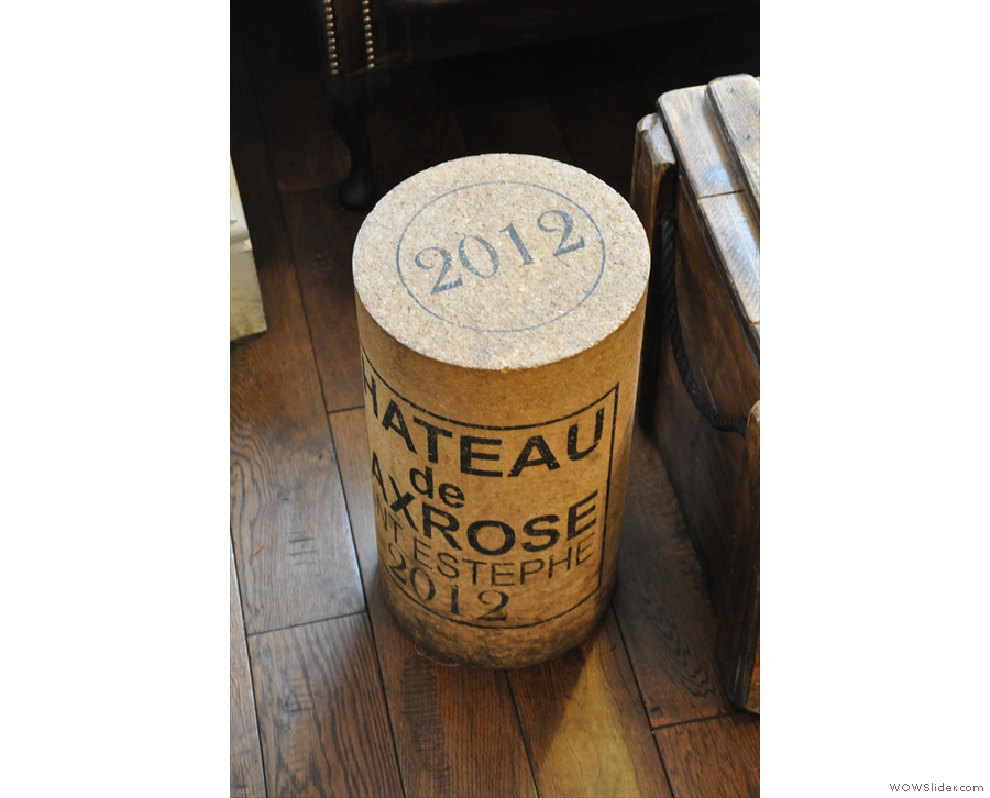 I loved the giant wine corks/stools. There's one on the other side.