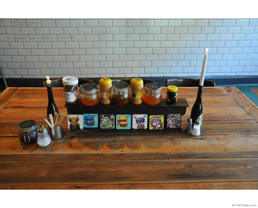Jams and other condiments on the communal table.