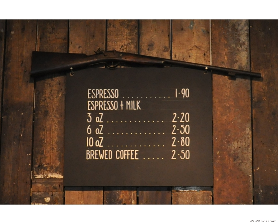 A nice and concise coffee menu.