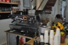 So, to business. The espresso machine is stocked with the tools of the trade.