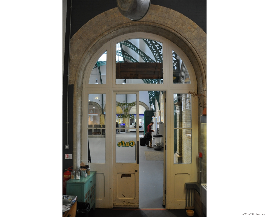 The view from inside the door, looking back out into the station.