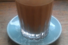 And, finally, my flat white in a glass.