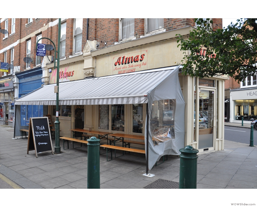 Don't be fooled. Alma's is in fact the delightful M1lk, seen here from Hildreth Street.