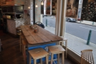 Another view of the communal table, this time from the back.
