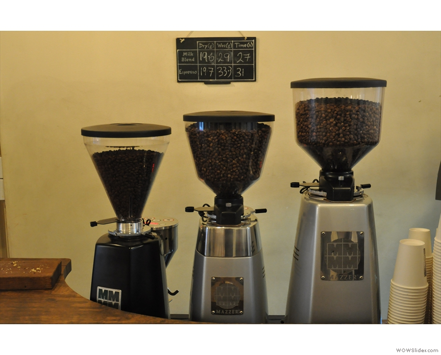 Three grinders, three beans. I'm guessing the blend, the single estate and a decaf.