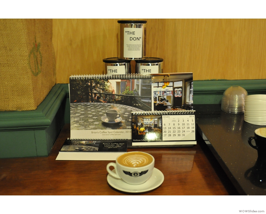 Calendars on display at the re-modelled Workhouse Coffee in King Street, Reading.