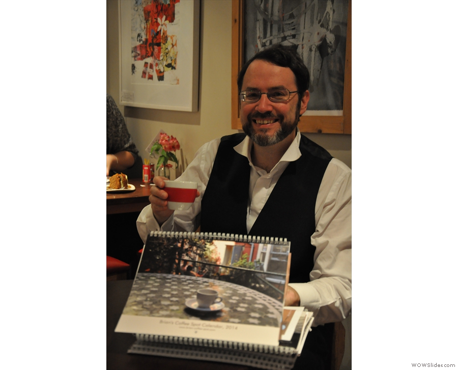 A rare picture of me and the Calendars at Cafe Mila in Godalming.
