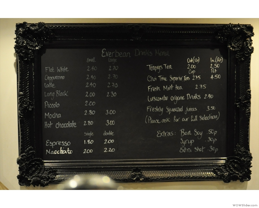 The drinks menu.