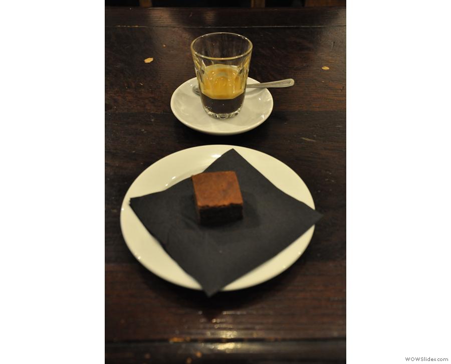 My espresso with mini-chocolate brownie.
