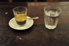 And finally the espresso itself, along with a glass of (self-service) water.