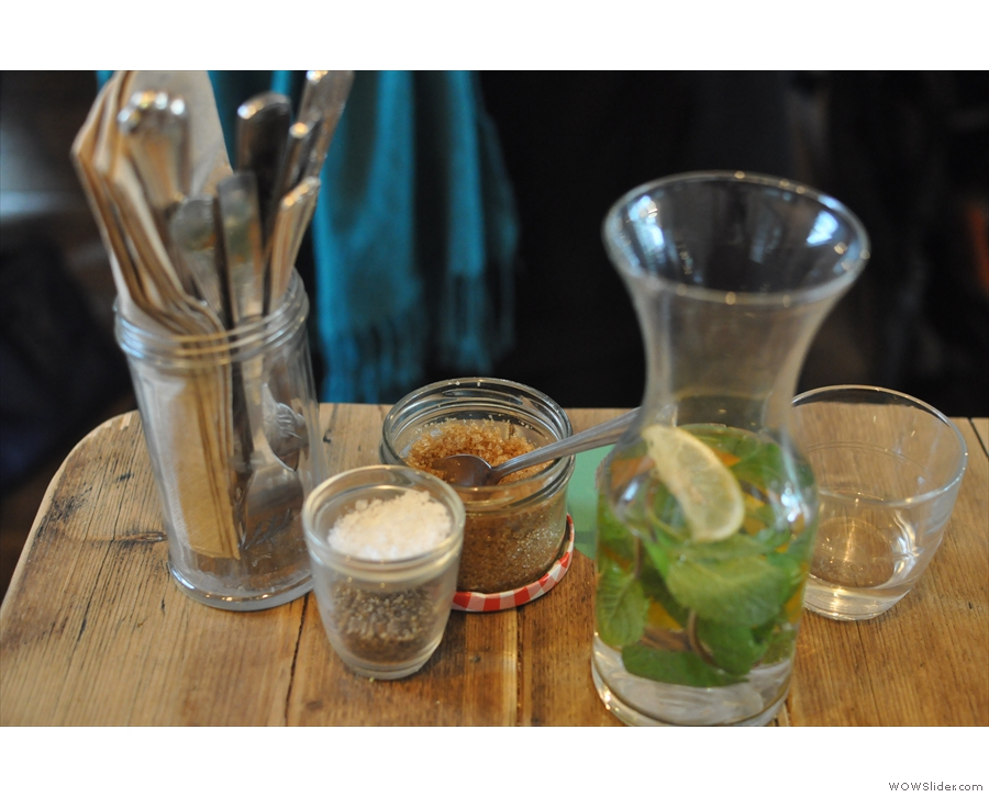 A carafe of water is automatically delivered to your table.