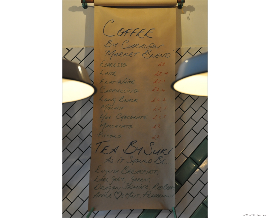 ... and the coffee menu in detail.