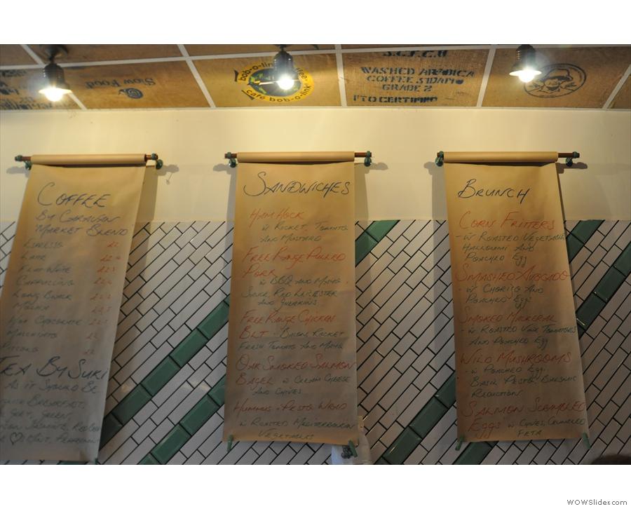 The menus...