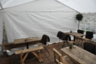 However, the awning keeps it dry and the staff put out blankets for people.