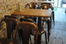 A rare moment when the tables opposite the counter were all unoccupied!