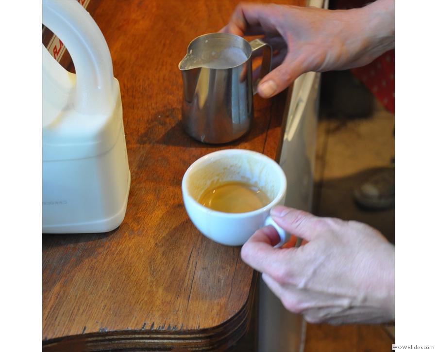 Warning! Latte artist at work...