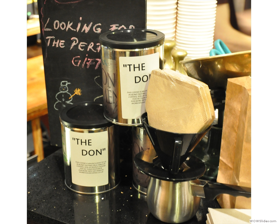 Neat gift idea. The Don, Workhouse's exclusive Dominican Republic coffee, & filter cone with papers.