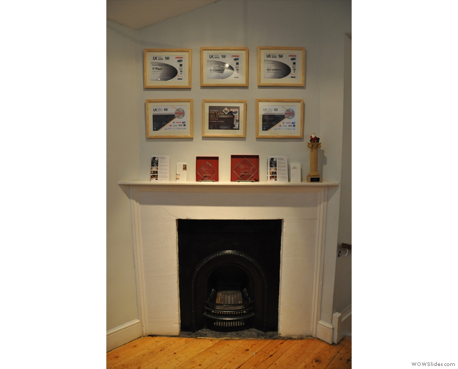 Nice fireplace at the top of the stairs with some of Colonna & Small's Awards.