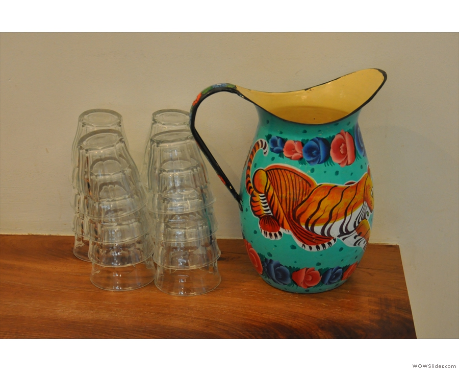 Colourful jugs of water were in both main spaces. This one was in the main seating area...