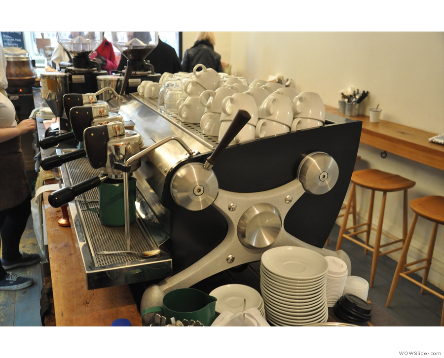 Questioning reveals it's on loan while the regular machine, a Synesso, is being serviced.