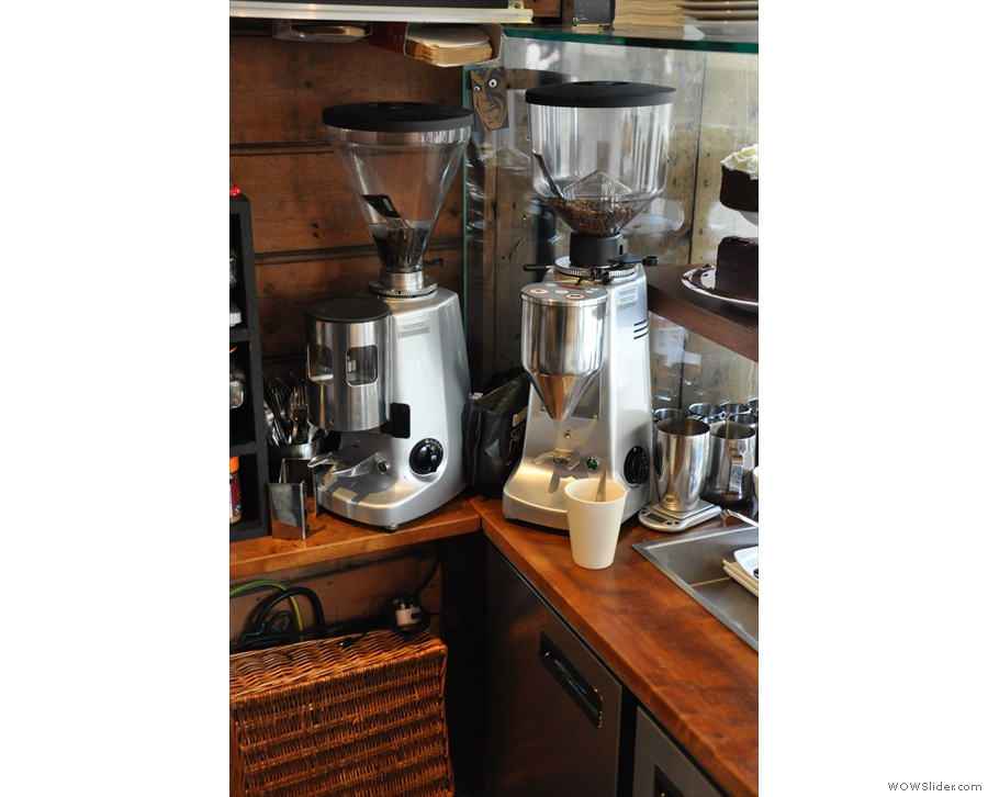 So, to the coffee. There's separate grinders for house blend and decaf.