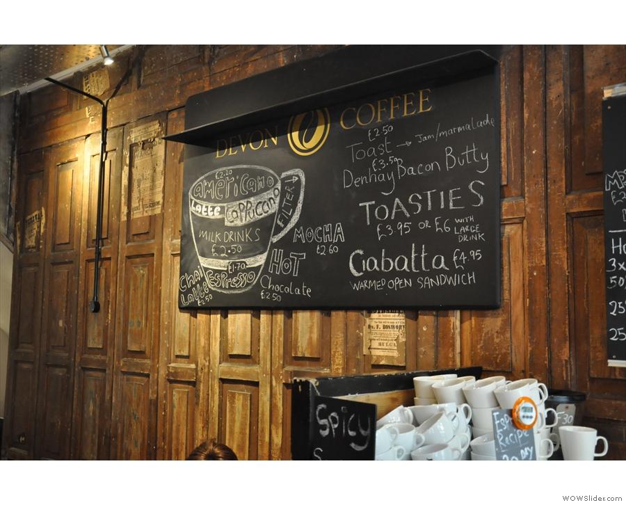 The coffee and toastie menu...