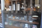 Back to Devon Coffee and its (slightly steamed up) window full of coffee and cake.