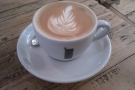 And my decaf flat white.