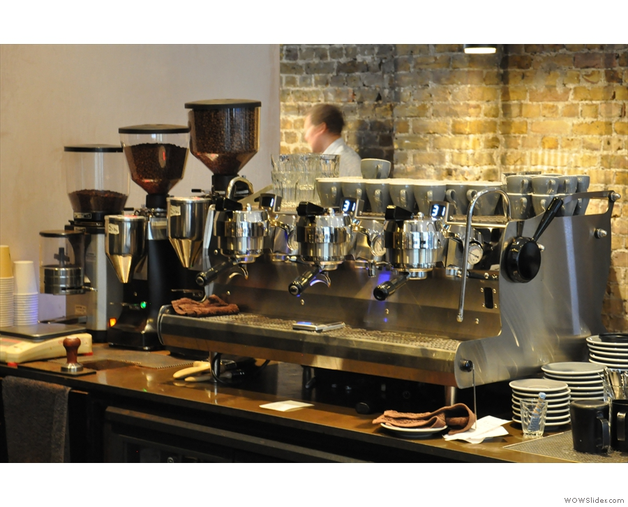 The business-end, complete with three grinders (Red Brick, Sweet Shop, Decaf)