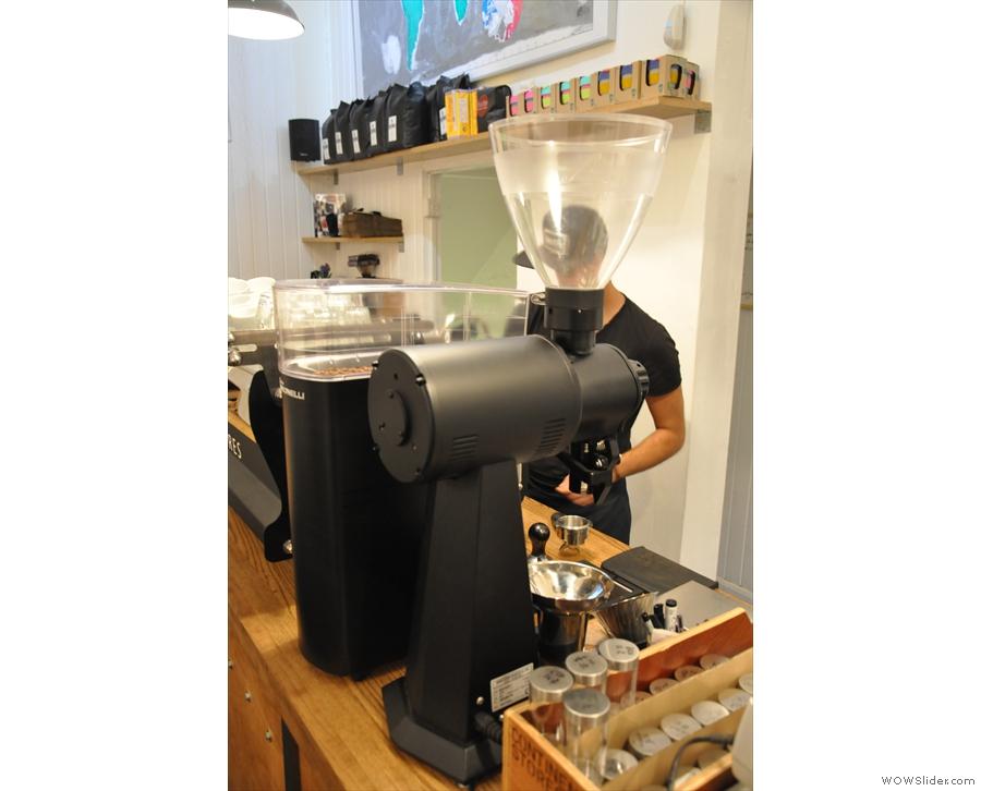 For the grinder-geeks: a Mahlkonig EK43. It grinds the decaf, guest espresso & pour-over.
