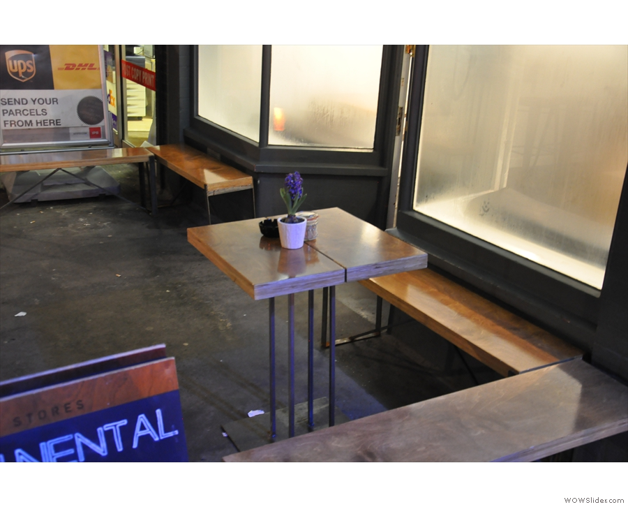 The outdoor seating, which, I'm sure, will be lovely in the summer.