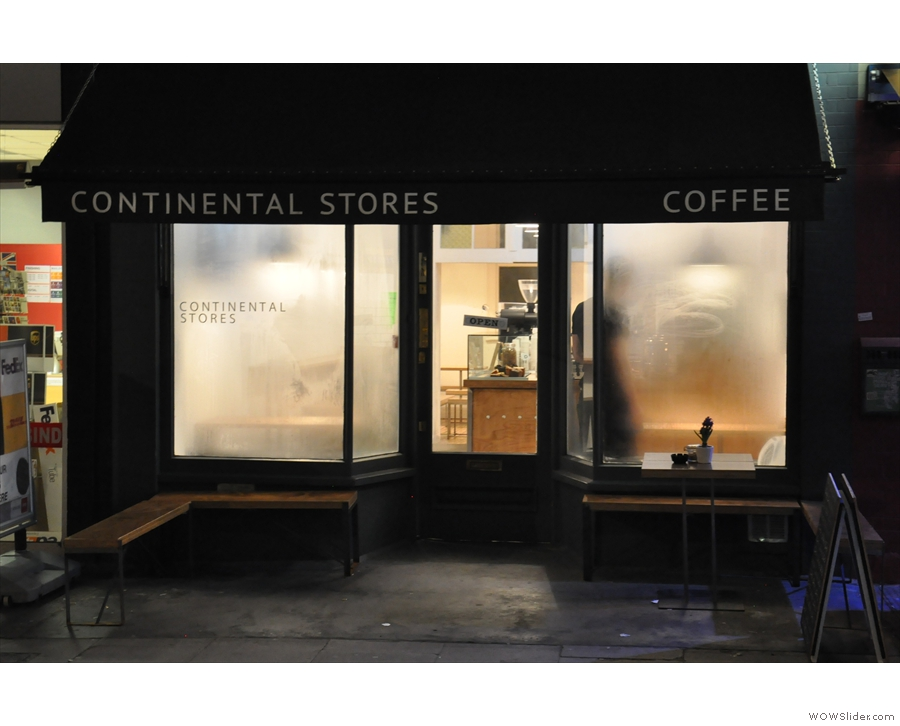 Contintental Stores on Tavistock Place on a dreary February evening.