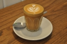 Finally, my decaf piccolo with lovely latte-art.