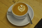 My reward: a lovely flat white made for me by James, OCC's resident barista.