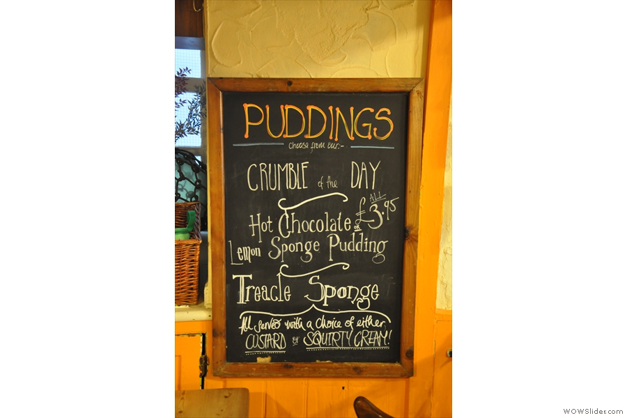 Hmmm... Puddings! All served with custard or squirty cream? No! Custard every time!