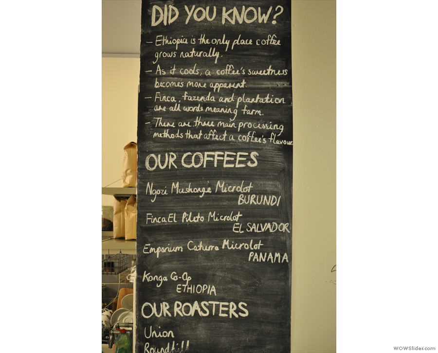 Pink Lane Coffee helpfully provides some coffee facts. Meanwhile, my caption helpfully obliterates the roasters: London's Union and Bath's Roundhill