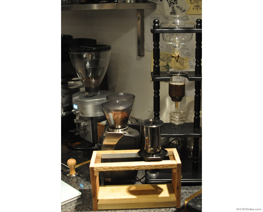 The filter bar, with an aeropress and Joe's cold-brew apparatus in the background.