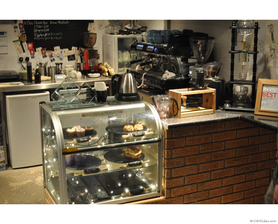 So, to business. Joe's counter is tucked away off the main square of the basement.