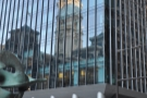 Philadelphia's City Hall, reflected in the glass above La Colombe, Dilworth Plaza.