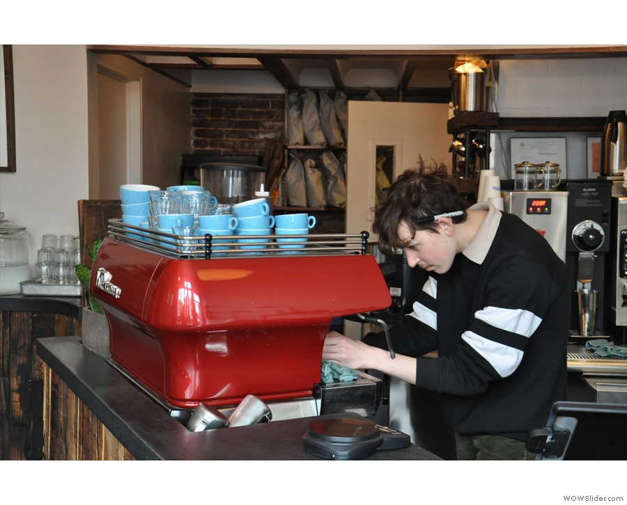 Ben hard at work behind the La Marzocco, making my cortado.