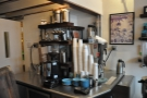 There's just enough space behind the counter for the bulk-brew filter.