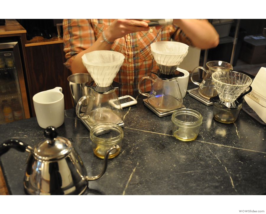 Each pour-over gets its own set of scales...