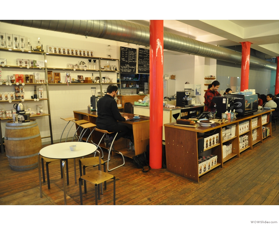 However, you can perch at the end of the counter, by the brew bar...