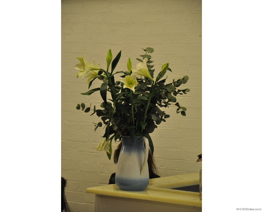 Prufrock is full of interesting little touches, such as this vase of flowers.