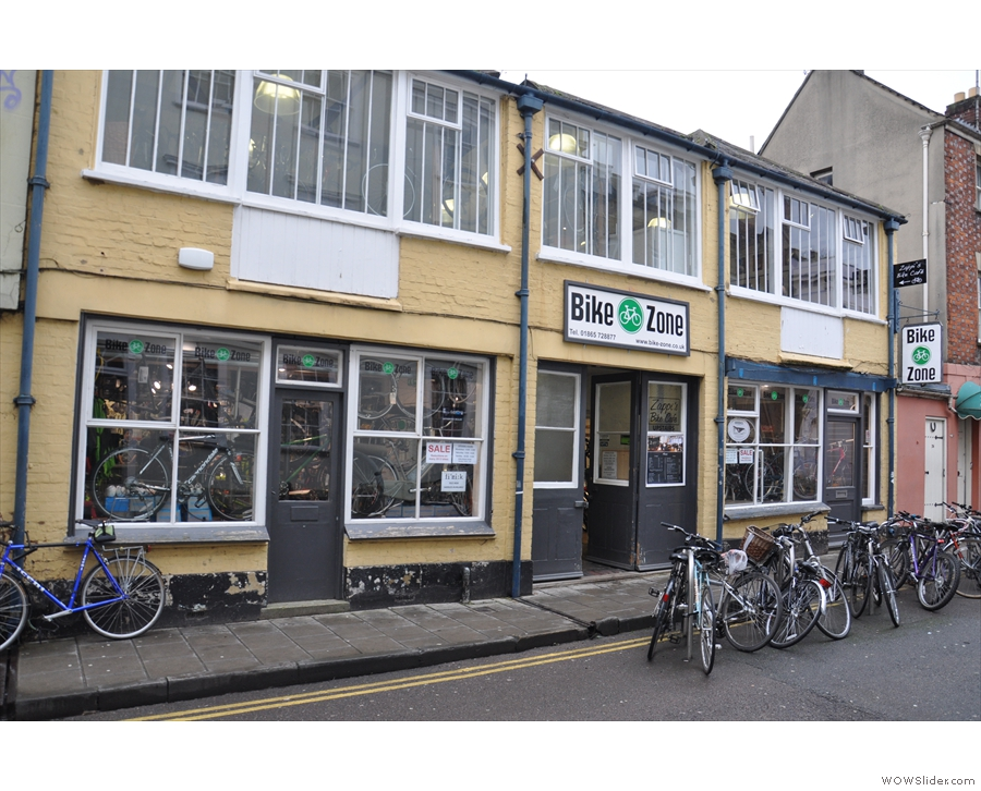 Zappi's Bike Cafe on St Michael's Street. Allegedly... Anyone seen a cafe?