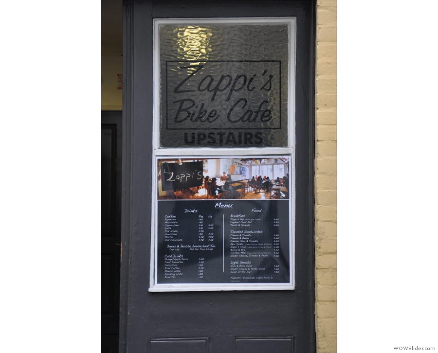 The menu on the door is a bit of a giveaway... Upstairs you say?