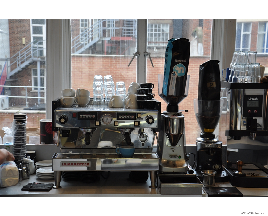 Here's the espresso machine, grinders and the boiler for the tea.