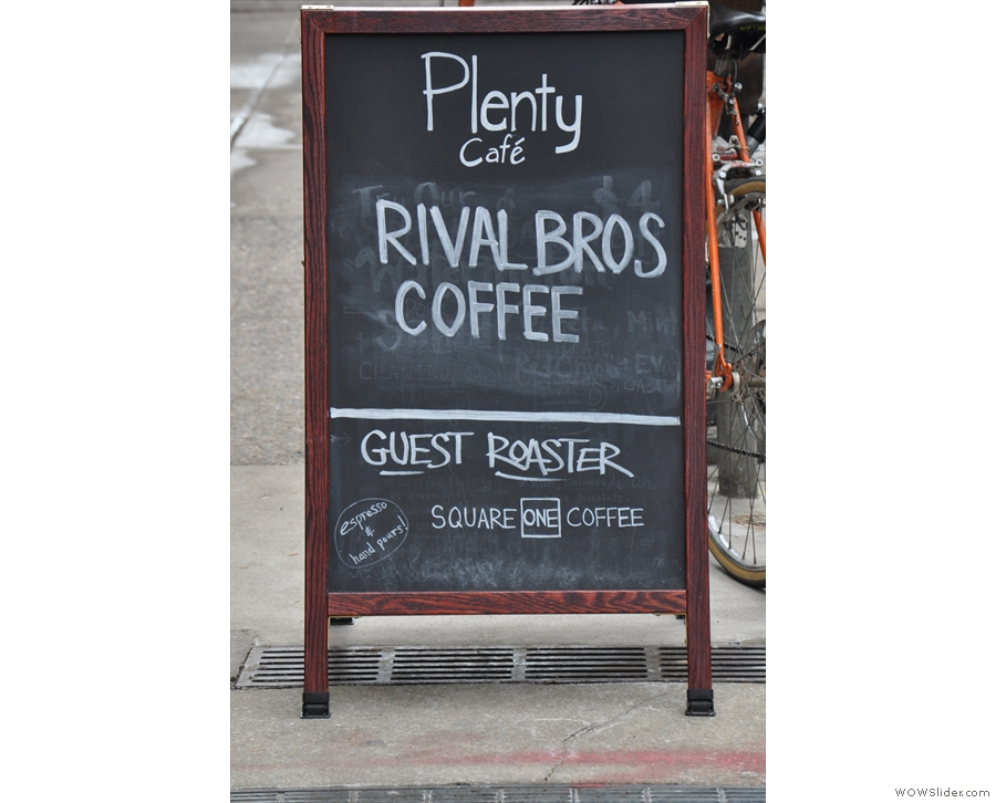 Plenty Cafe's coffee credentials. And no, it's not Square Mile, which was how I first read it!