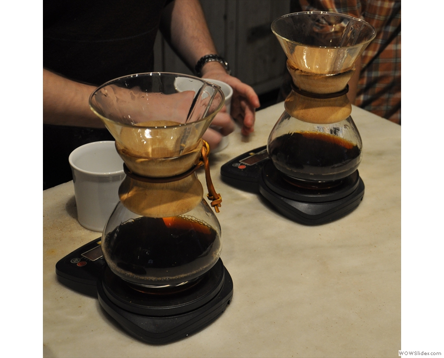 Once the water's filtered through, the filters are discarded & the coffee's ready.