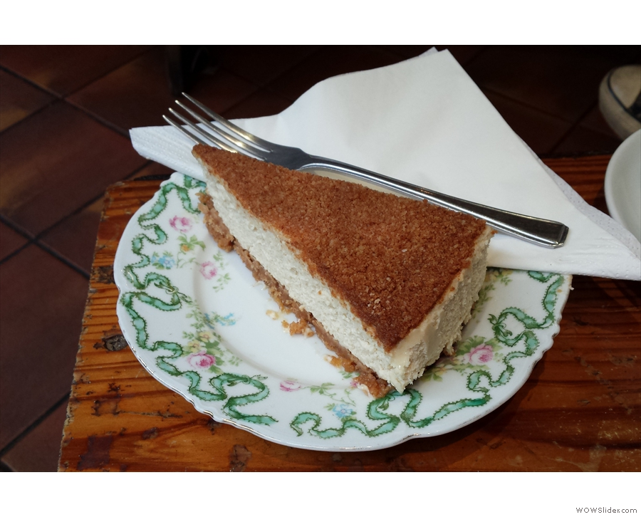 Dessert was a slice of amaretto cheesecake, with a layer of crushed amaretto on top.